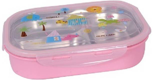 AKR Leak Proof Stainless Steel Single Compartment Pink Lunchbox 1 Containers Lunch Box