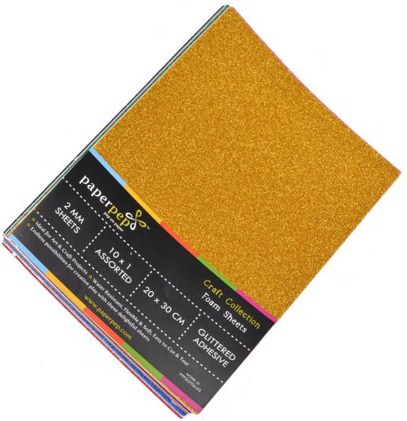 Paper Pep Foam Sheets 2MM Glittered Adhesive 30 cm Acrylic Sheet