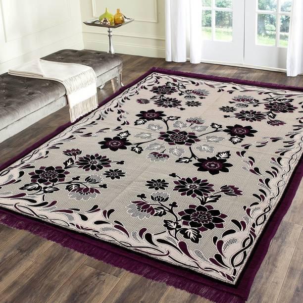 Flipkart SmartBuy Lavender, Black Cotton Carpet