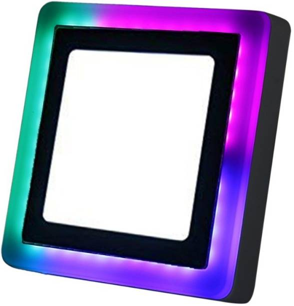 D'Mak 9 Watt Square Surface Dual Multi Color PGB (Pink,Green,Blue) LED Panel Light White+Pgb Lamp Downlight AC 100-265V Lights with IC Driver Energy Super Saver (9.00 Watts) | led color panel light | (Pack OF 01) Flush Mount Ceiling Lamp
