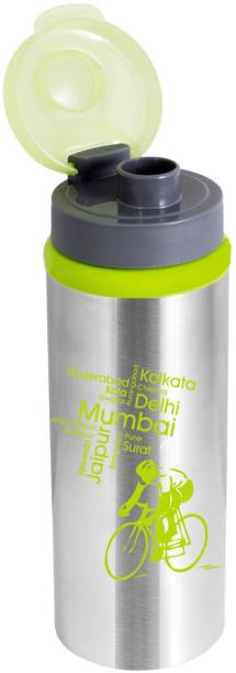 NanoNine Sprint Water Bottle with Flip Top , 600 ml ,Green 600 ml Bottle