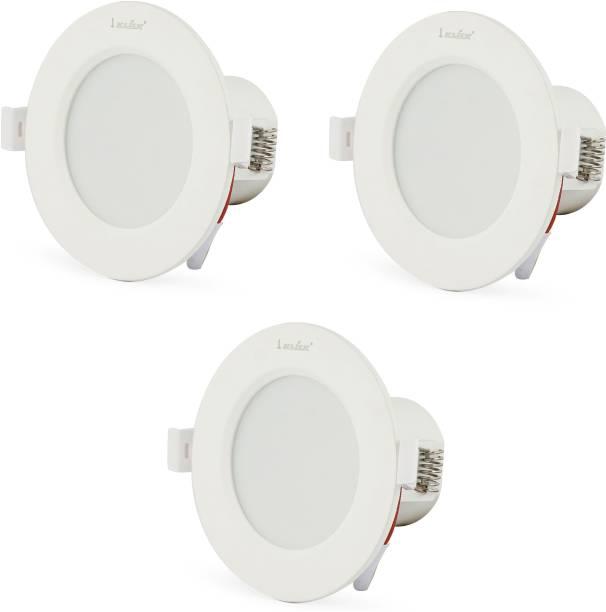 Klick Set Of Three 7-Watt LED Down Light Energy & Money Saving Light - ( Pack Of 3, White) Flush Mount Ceiling Lamp