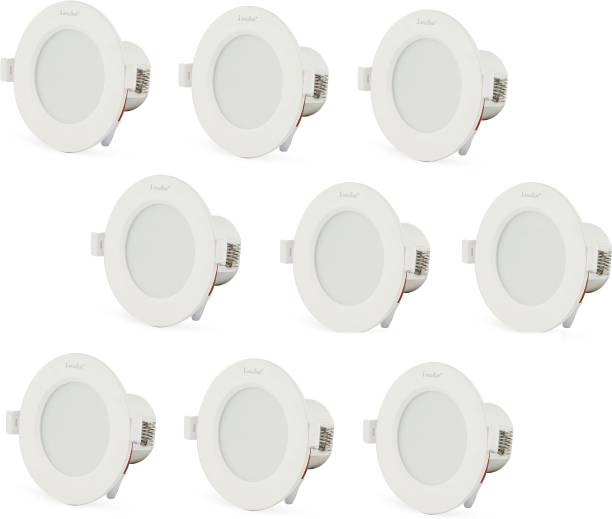 Klick Set Of Nine 7-Watt LED Down Light Energy & Money Saving Light - ( Pack Of 9, White) Flush Mount Ceiling Lamp