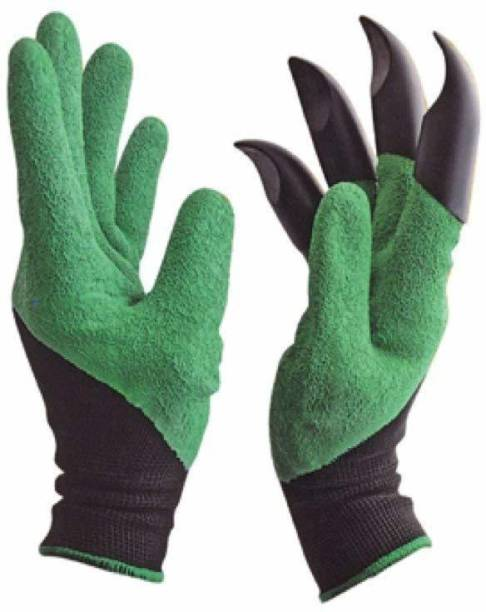 Protos India.Net Heavy Duty Garden Farming Gloves Washable Right Hand Fingertips ABS Claws Gardening Tool Gardening Shoulder Glove