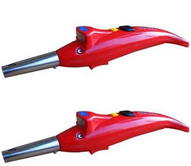 Protos India.Net 2 pcs Electric Gas Lighter for Kitchen Stove 2 in 1 Torch Dolphin Lighter Gas RED Plastic Gas Lighter