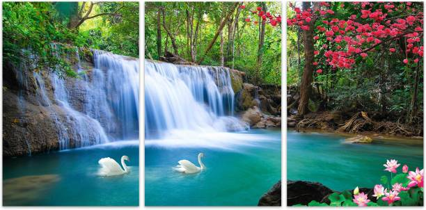 Scenic watefall in forest 3 piece MDF Painting Paper Print