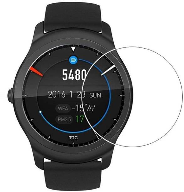 ACUTAS Tempered Glass Guard for Ticwatch 2 (Transparent) Full Screen Coverage (Except Edges) with easy installation kit