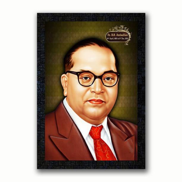 Poster N Frames Poster N Frames UV Textured Decorative Art Print of Indian Freedom Fighter Dr. B. R. Ambedkar with wooden synthetic frame Painting Size 14 x 20 inch Digital Reprint 20 inch x 14 inch Painting