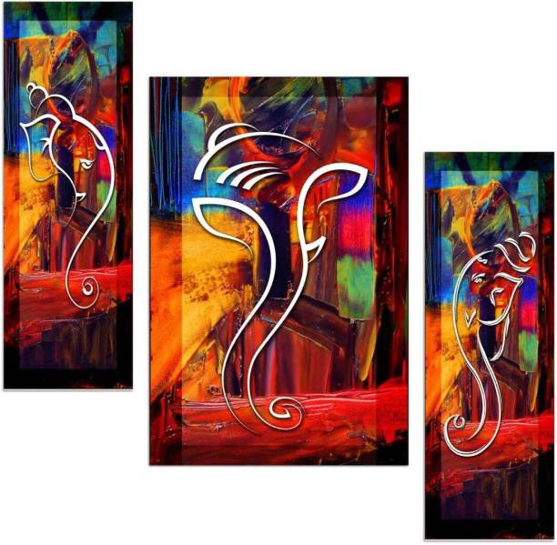 Beautiful Ganapati in Abstract Art 3 Piece MDF Painitng Paper Print