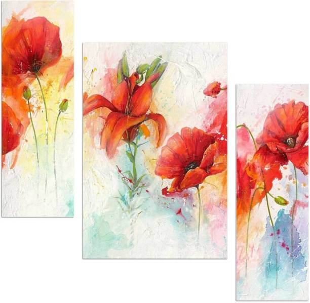 Art Amori Beautiful Flower art in Abstract design 3 piece MDF Painting Digital Reprint 12 inch x 18 inch Painting