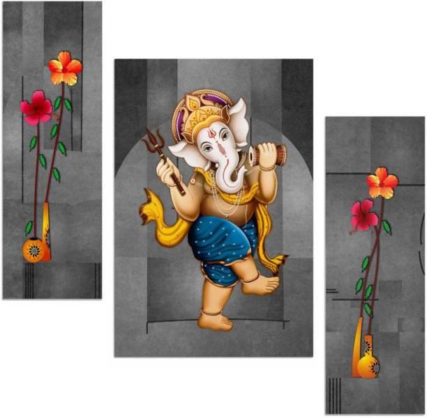 Art Amori Ganesha playing damru 3 piece MDF Painting Digital Reprint 12 inch x 18 inch Painting