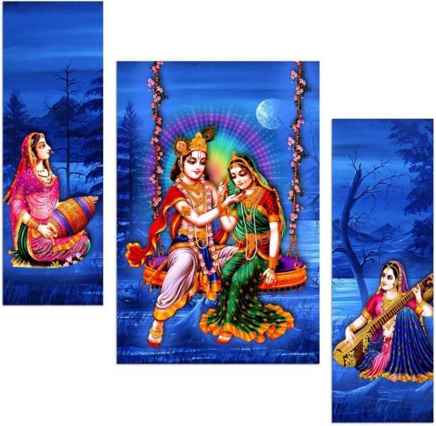 Art Amori Radha krishna with gopis 3 Piece MDF Painting Digital Reprint 12 inch x 18 inch Painting