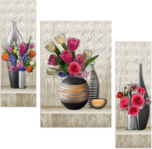 Art Amori Beautiful flower art three piece MDF Painting Digital Reprint 12 inch x 18 inch Painting