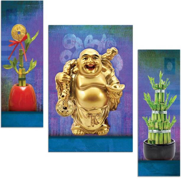 Art Amori Good luck laughing Buddha Fengsui plant three piece MDF Painting Digital Reprint 12 inch x 18 inch Painting