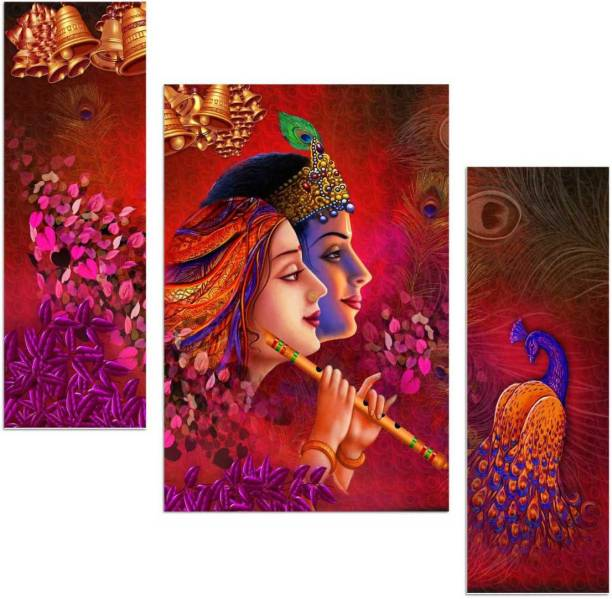 Art Amori Radhe krishna religious three Piece MDF Painting Digital Reprint 12 inch x 18 inch Painting