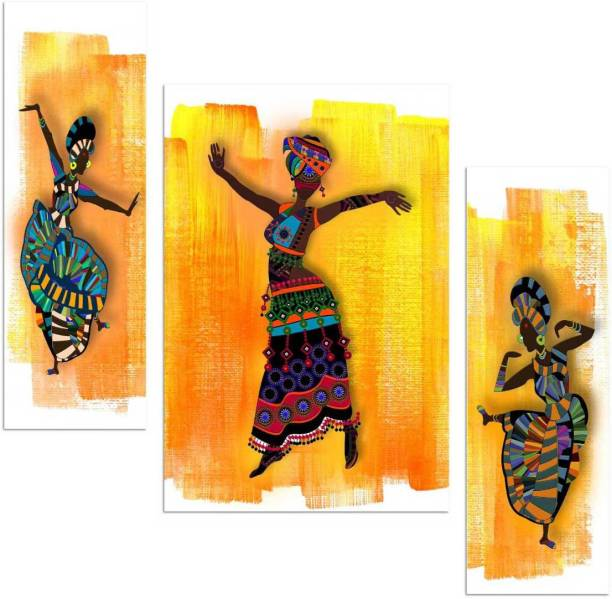 Art Amori African dance culture 3 piece MDF Painting Digital Reprint 12 inch x 18 inch Painting