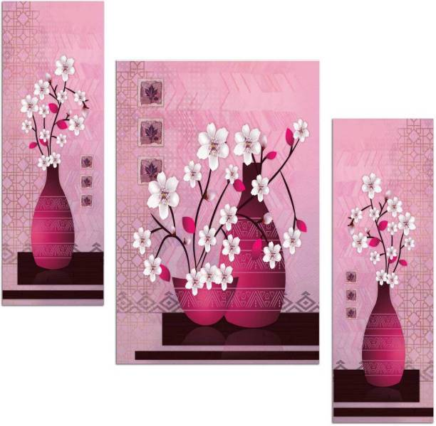 Art Amori White Flower with pink pot three piece MDF Painting Digital Reprint 12 inch x 18 inch Painting