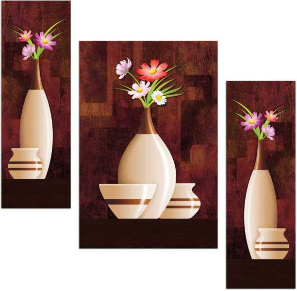 Flower and flower pot hree piece MDF Painting Paper Print