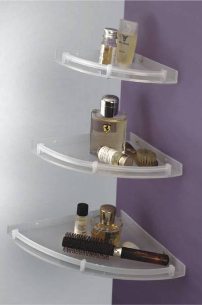 LOGGER - Corner Set of 3 pcs (Size :- 6 Inches, 8 Inches, 10 Inches) (L70020031D) Acrylic Wall Shelf