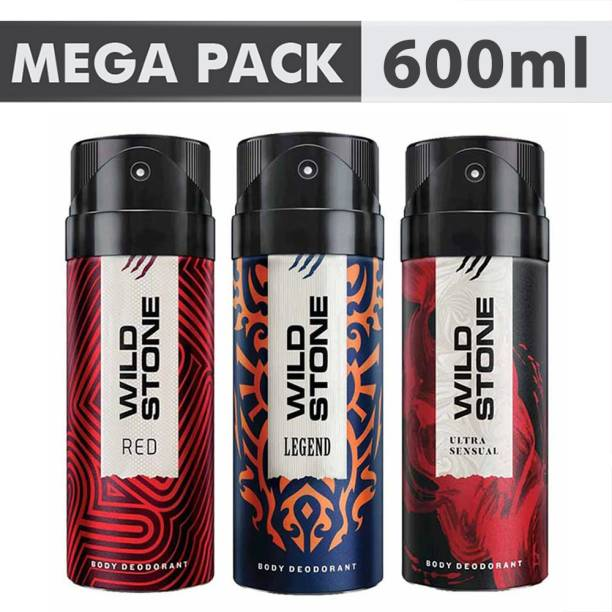 Wild Stone Ultra Sensual, Red & Legend Combo Deodorant Spray  -  For Men