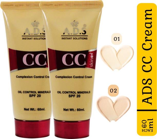 ads SPF-20 CC Cream-A1676-01-02 Pack of 2 With Skin Whitening Cream 20ml Foundation