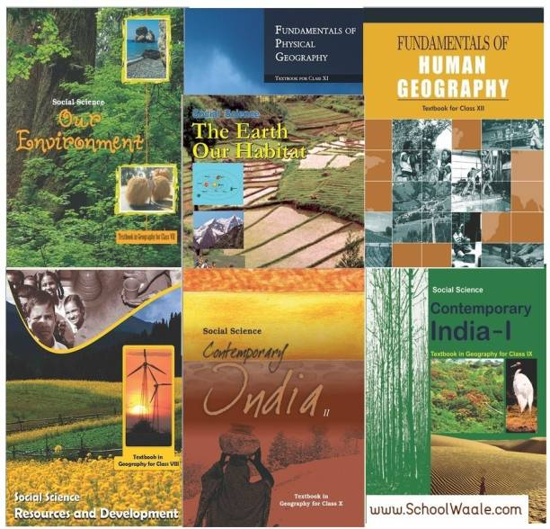 NCERT Geography Books Set Class 6 To 12 (English Medium - Binded Books)