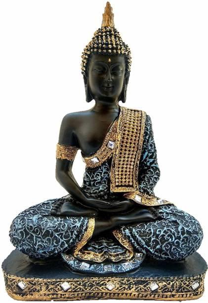 Brothers Creation Beautiful Black Golden Meditating Lord Buddha Decorative Showpiece Decorative Showpiece  -  25.4 cm