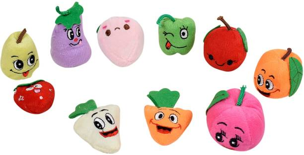 Miss & Chief Plush Fruit Vegetable Finger Puppets Premium Soft toy - Set of 10 Finger Puppets