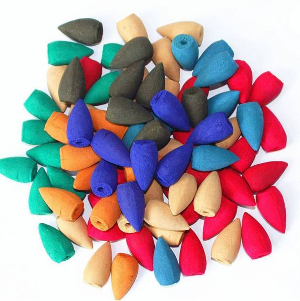 Bluejack Dhoop cones Reverse Cones for Smoke Fountains Random Colors and Fragrances 150 Pc [DhoopconesReverse_150 Pc5] B150++ Dhoop Unscented Dhoop