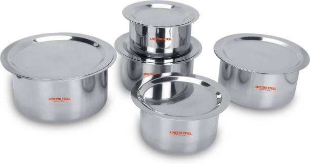 LIMETRO STEEL Stainless Steel Flat Bottom 22 Gauge 5 pcs Tope Set With Lid Cookware Set