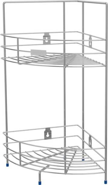 Dignity Stainless Steel 2-Tier Corner Stand Multipurpose Storage Rack Steel Wall Shelf