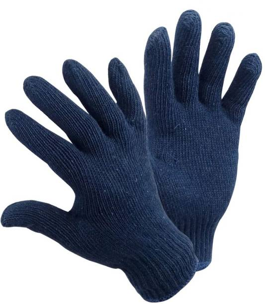 Yiking Cotton Knitted Hand Gloves 6 pair Navy Blue safety hand gloves Kevlar  Safety Gloves