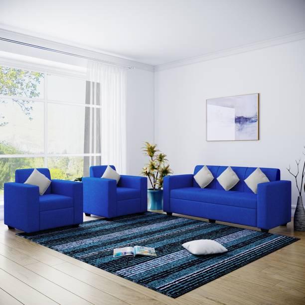 Flipkart Perfect Homes Burano Fabric 3 + 1 + 1 Royal Blue Sofa Set