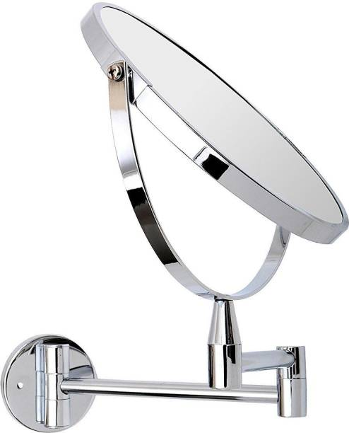 """KKD 8"""" { Stainless Steel } Makeup Mirror/ Shaving Mirror/ Bathroom Mirror with 5X Magnifying Mirror & Wall Bracket With Adjustable Frame"""