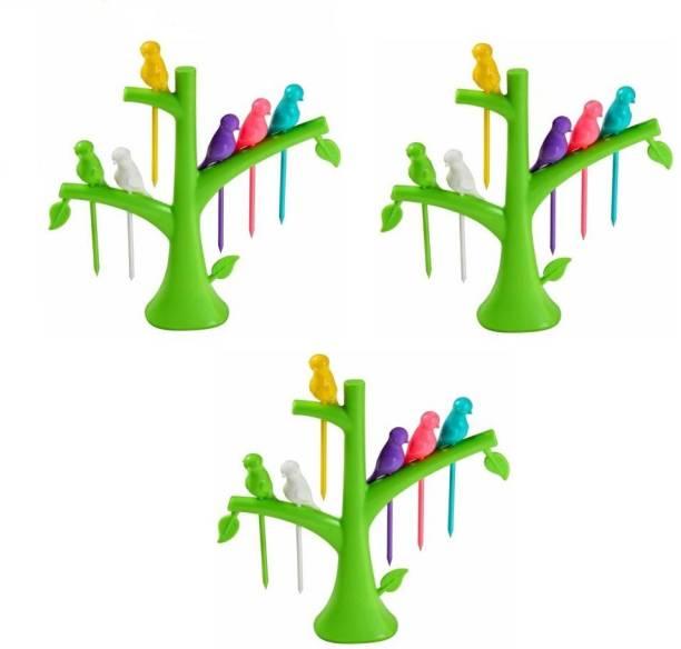 kewin plastic bird fruit fork set of 3 Plastic Fruit Fork Set