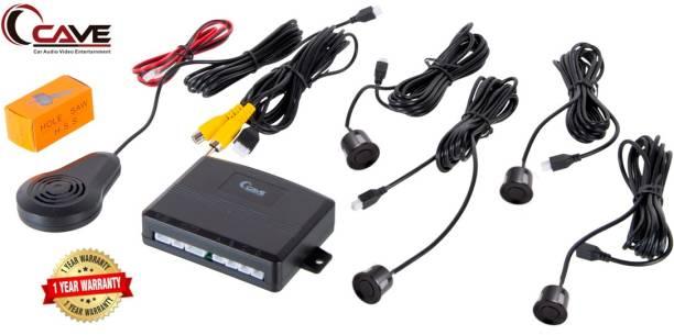 Cave RJ-146_2 Car Reverse Video Parking Sensor Set & LED Screen on Dashboard with Human Voice 4 Ultrasonic Sensors, Colour - Black Parking Sensor