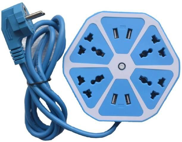Miran Hexagon Socket Extension Board with 4 USB 3.1Amp Charging Point 6  Socket Extension Boards