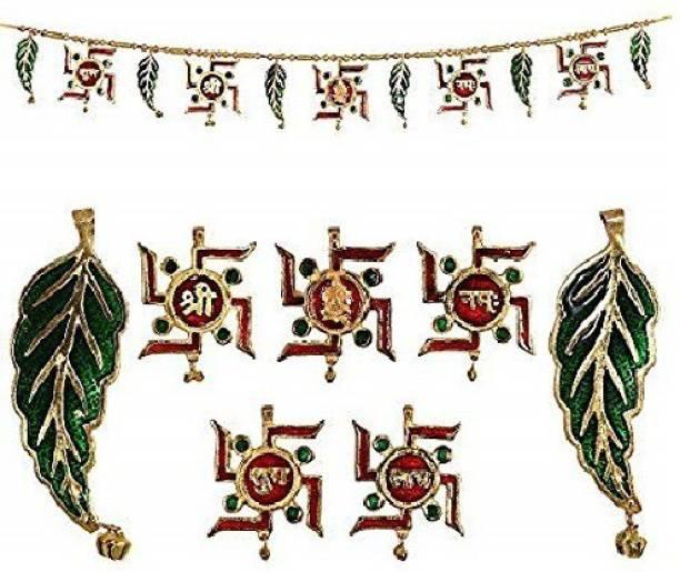 UAPAN Metal Swastik Subh Labh Toran For Door Hanging (3.5 Feet) Toran