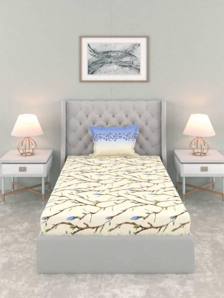 TRIDENT 144 TC Cotton Single Floral Bedsheet