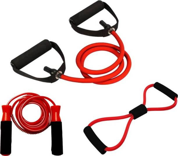 L'AVENIR Sports & Fitness combo of Resistance / Toning Tube / Pull Rope, 8 Band Exerciser & JUMP ROPE Gym & Fitness Kit