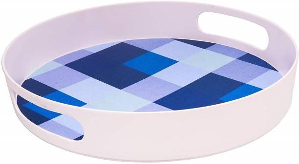 STEHLEN Melamine Serving Tray (Blue, Round) - 12 Inch Tray