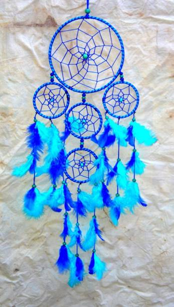 """ONRR Collections Blue 5 ring feng shui dream catcher ; size:6""""ring Feather Dream Catcher"""