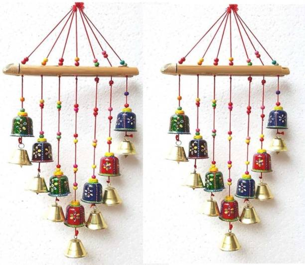 Brothers creation Handcrafted Rajasthani Bells Design Wall Hanging Decorative Showpiece - 45 cm Wood Windchime