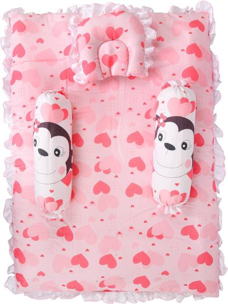 Smartcraft Baby Mattress with Bolster and Two Pillows, Monkey Print - Pink Standard Monkey Print