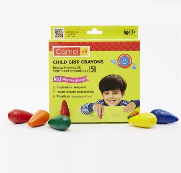 Camel Child Grip Crayon Set 5 shades