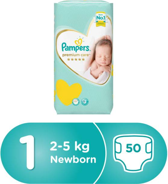 Pampers Premium Care Diapers, Size-1 (2-5 kg) , Pack of 50 - New Born