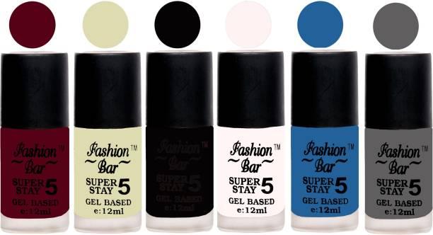 Fashion Bar Velvet Matte Gel Nail Paint Violet Red,Basecoat,Black,White,Vibrant Blue,Grey
