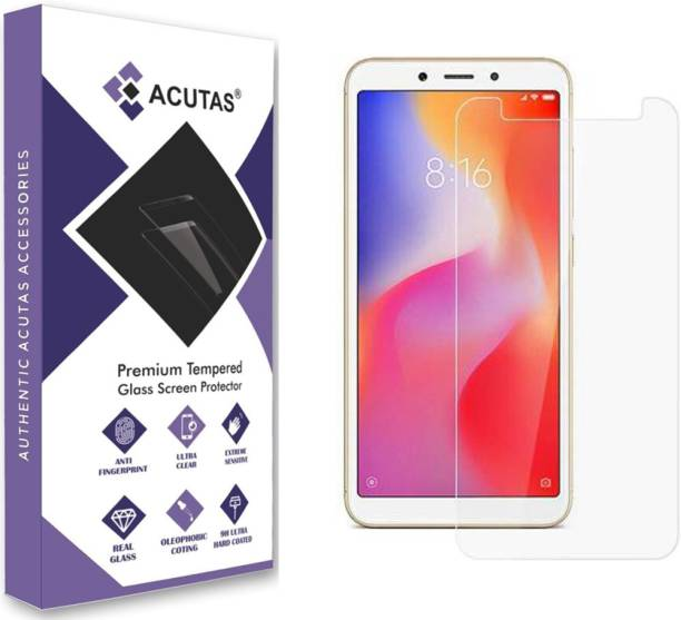 ACUTAS Tempered Glass Guard for Redmi 6/6A (Transparent) Full Screen Coverage (Except Edges) with Easy Installation kit