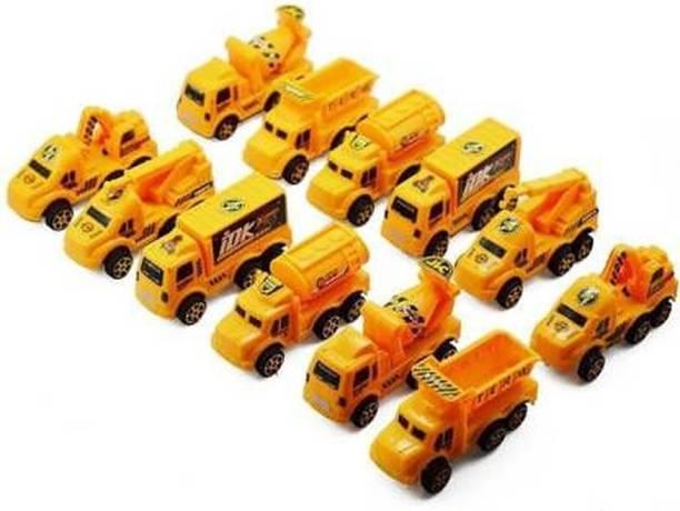 PS Aakriti Vehicle Push & Pull Along Toys Construction trucks Set of 12 pieces