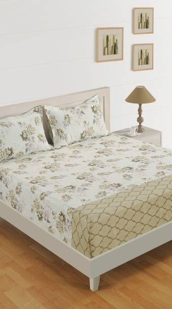 SWAYAM 210 TC Cotton Double Floral Bedsheet